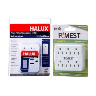 Kit Protector de Voltaje Refrigerador Halux + Multitoma Multipro 120VAC/15A (1800W) Powest