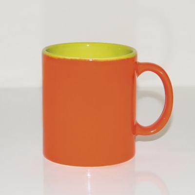 Mug 310ml Bicolor Naranja-Verde Limón