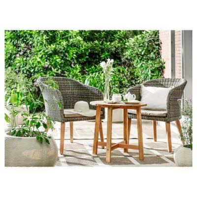 Juego de Terraza Balcony 3 Piezas Madera Eucalyptus/ratan