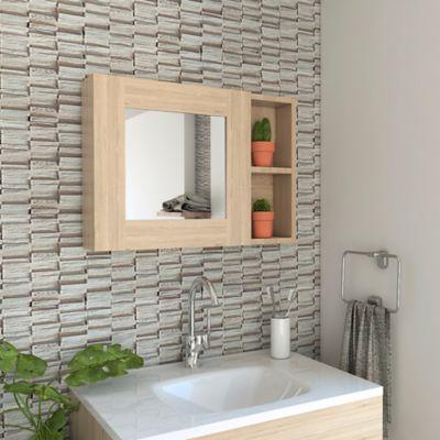 Gabinete para Baño Cairo 40x55x11.8 cm 1 Puerta con Espejo Rovere