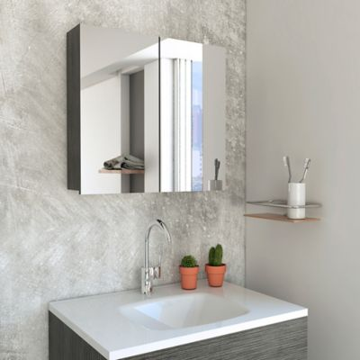 Gabinete para Baño Vanta 47.3x50x12.2 cm 2 Puertas con Espejo Roble