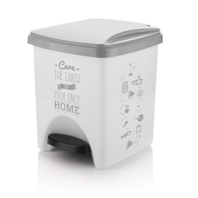 Papelera Pedal 20 Blanco  Gris Care The Earth