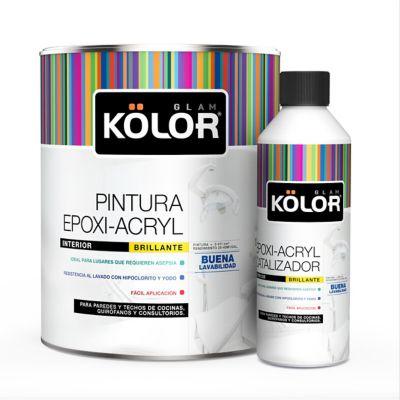 Pintura para Interior Epoxi Acryl 1 Galón + Catalizador Blanco Brillante