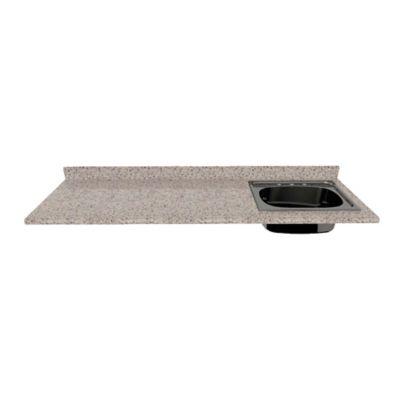 Mesón para Cocina Postformado 220x60 cm con Poceta Derecha Jaspe Claro