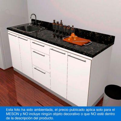 Mesón para Cocina Postformado 120x52 cm con Poceta Izquierda Verde Ubatuba