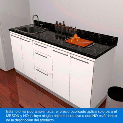 Mesón Postformado para Cocina 150x52 cm con Poceta Izquierda Verde Ubatuba