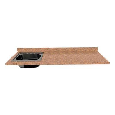 Mesón para Cocina Postformado 150x52 cm con Poceta Izquierda Mármol Coral