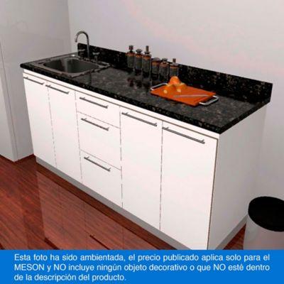 Mesón para Cocina Postformado 220x60 cm con Poceta Izquierda Verde Ubatuba