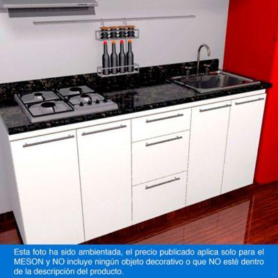 Mesón para Cocina Postformado 180x52 cm con Poceta Derecha y Perforación para estufa empotrable Izquierda Verde Ubatuba