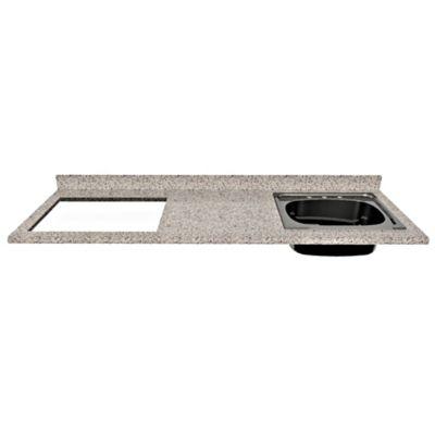 Mesón para Cocina Postformado 180x52 cm con Poceta Derecha y Perforación para estufa empotrable Izquierda Jaspe Claro