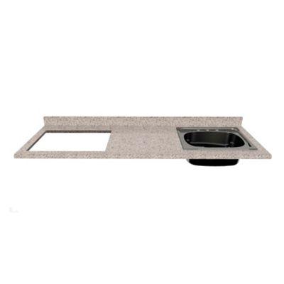 Mesón para Cocina Postformado 180x60 cm con Poceta Derecha y Perforación para estufa empotrable Izquierda Jaspe Claro