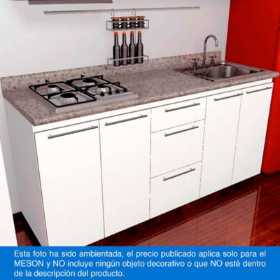 Mesón para Cocina Postformado 220x60 cm con Poceta Derecha y Perforación para estufa empotrable Izquierda Jaspe Claro