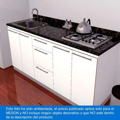 Mesón para Cocina Postformado 150x52 cm con Poceta Izquierda y Perforación para estufa empotrable Derecha Verde Ubatuba
