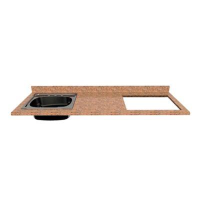 Mesón para Cocina Postformado 150x52 cm con Poceta Izquierda y Perforación para estufa empotrable Derecha Mármol Coral