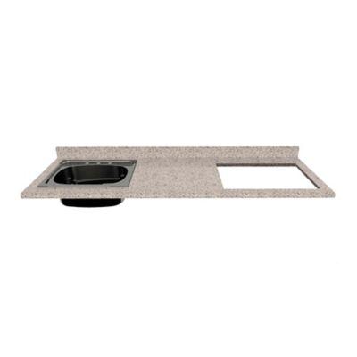 Mesón para Cocina Postformado 150x52 cm con Poceta Izquierda y Perforación para estufa empotrable Derecha Jaspe Claro