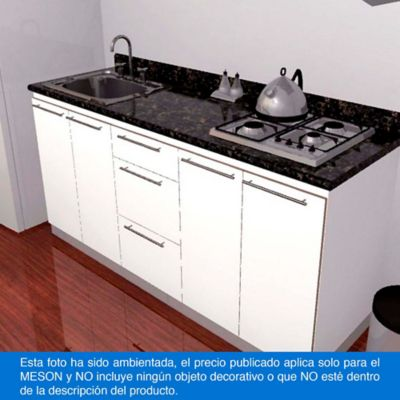 Mesón para Cocina Postformado 180x52 cm con Poceta Izquierda y Perforación para estufa empotrable Derecha Verde Ubatuba