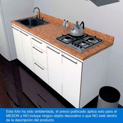 Mesón para Cocina Postformado 180x52 cm con Poceta Izquierda y Perforación para estufa empotrable Derecha Mármol Coral