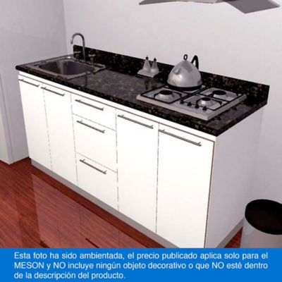 Mesón para Cocina Postformado 180x60 cm con Poceta Izquierda y Perforación para estufa empotrable Derecha Verde Ubatuba