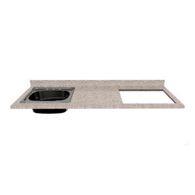 Mesón para Cocina Postformado 180x60 cm con Poceta Izquierda y Perforación para estufa empotrable Derecha Jaspe Claro