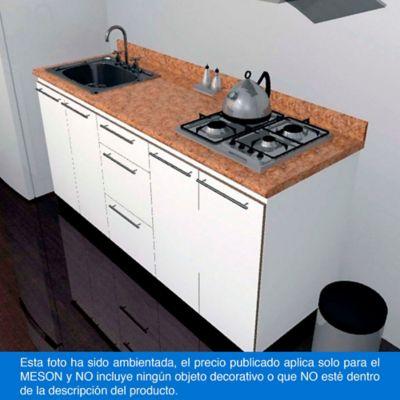 Mesón para Cocina Postformado 220x60 cm con Poceta Izquierda y Perforación para estufa empotrable Derecha Mármol Coral