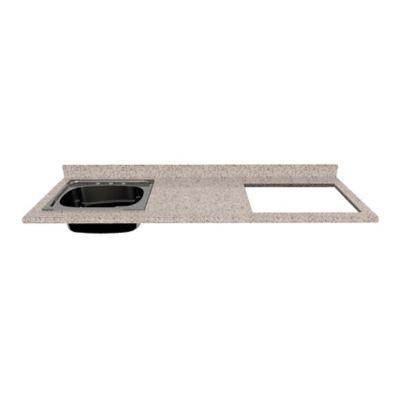 Mesón para Cocina Postformado 220x60 cm con Poceta Izquierda y Perforación para estufa empotrable Derecha Jaspe Claro