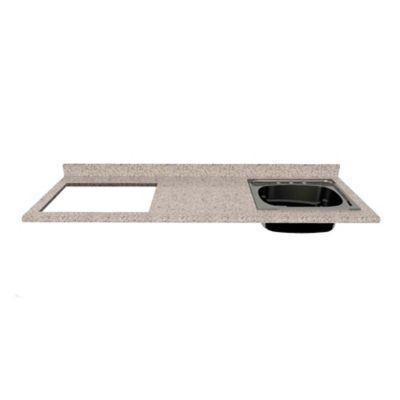 Mesón para Cocina Postformado 150x52 cm con Poceta Derecha y Perforación para estufa empotrable Izquierda Jaspe Claro