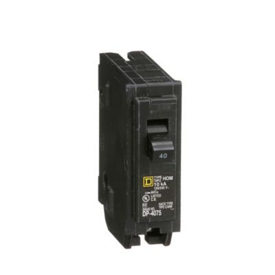Mini Breaker Homeline, 1 Polo, 40 A, 10 kA, 120-240 V AC, Enchufable