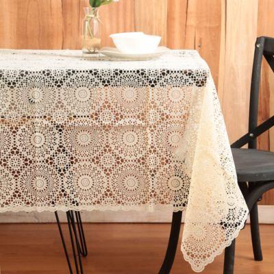 Mantel 137x182cm Crochet Vinilo Beige