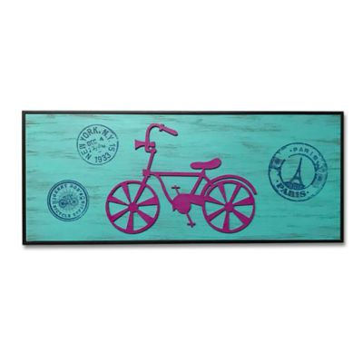 Cuadro Retablo Bicicleta Calada 20x50 cm Azul