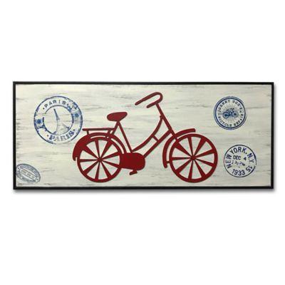 Cuadro Retablo Bicicleta Calada 20x50 cm Lila