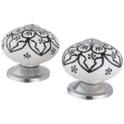 Pomo Porcelana 40Mm Flores Negras 2Und Fixser