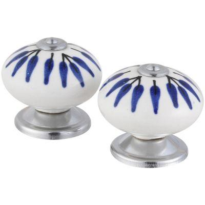 Pomo Porcelana 40Mm Hojas Azules 2Und Fixser