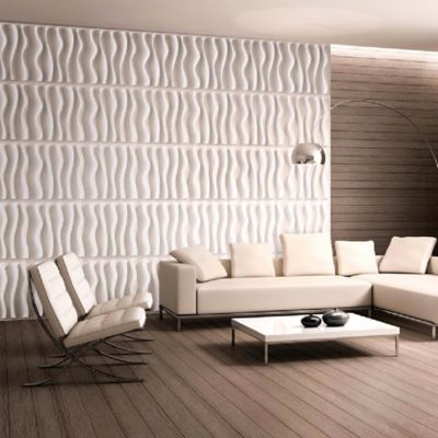 Panel Decorativo 3D Ondas Blanco Caja 3m2 (12 Paneles)