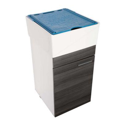 Lavadero Esencial Con Mueble Inferior 1 Puerta Roble Gris Y Accesorios Azul