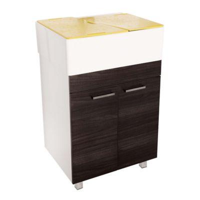 Lavadero Comfort Con Mueble Inferior 2 Puertas Roble Ahumado Y Accesorios Verde