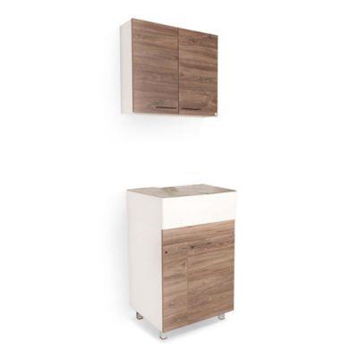 Lavadero Matiz Con Mueble Superior E Inferior 4 Puertas Siena Y Accesorios Taupe