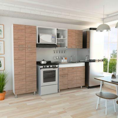 Cocina Integral Ferreti 2.20 Metros 11 Puertas 1 Cajón Miel - Blanco Incluye Mesón Derecho , Alacena , Módulo Microondas