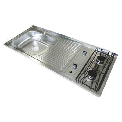 Mesón para Cocina 120x50 cm con 2 Puestos a Gas Poceta Izquierda Monocontrol en Acero Inoxidable