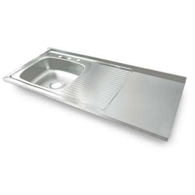 Mesón para Cocina Liso 120x50 cm con Escurridor y Zona de Trabajo Poceta Izquierda Mezclador en Acero Inoxidable