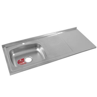 Mesón para Cocina Liso 120x50 cm con Escurridor y Zona de Trabajo Poceta Izquierda Monocontrol en Acero Inoxidable