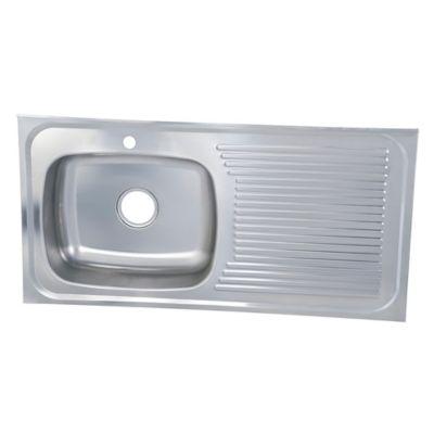 Lavaplatos en Acero Inoxidable 100x50 cm con Escurridor y Poceta Derecha para Griferia Monocontrol