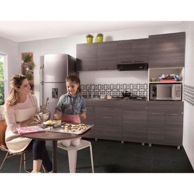 Cocina Integral Oslo 1.50 Metros 7 Puertas 1 Cajones Roble Gris - Blanco Incluye Mesón Derecho Con Estufa 4 Puestos A Gas
