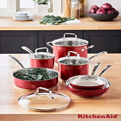 Batería De Cocina 10 Piezas En Acero Rojo