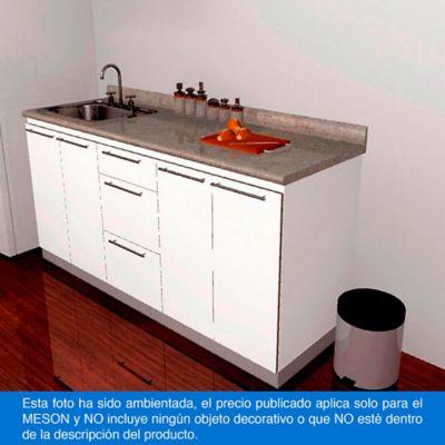 Mesón para Cocina Laminado 214x62 cm con Poceta Izquierda Gris