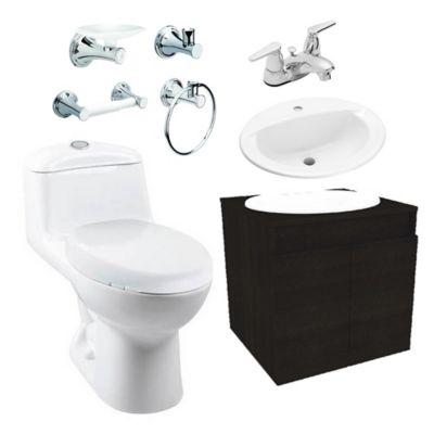 Combo Smart : Sanitario Redondo Smart + Mueble Básico + Lavamanos Marsella + Grifería Nogal + Accesorios Ródano