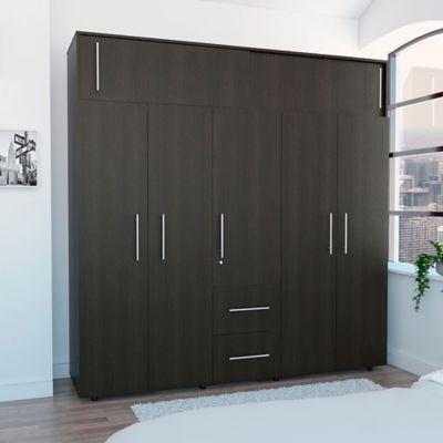 Closet Bigaf 5 Puertas 2 Cajones 204x200.1x50.3cm Wengue