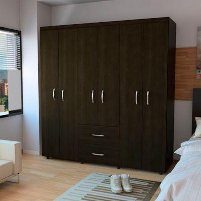 Closet Bariloche 6 Puertas 2 Cajones 180x170.3x50.3cm Wengue