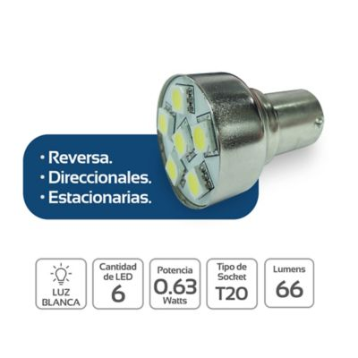 Luz Led Carro Reversa Direccional Estacionar 6 Led