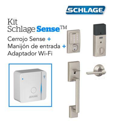 Kit Sense Century Satín+Adaptador Wifi+Manijón Schlage