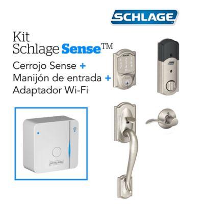 Kit Sense Camelot Satín+Adaptador Wifi+Manija Derech Schlage